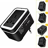 Universal Travel Adapter, ELEGIANT All In One International Power Converter Worldwide Wall Charger AC Power Plug with Dual USB Charger Ports for AU EU UK US Black - Built-in Spare Fuse