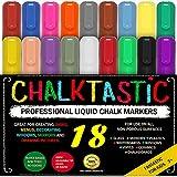 LIQUID CHALK MARKERS & Pens - By ChalkTastic MEGA 18 Pack BEST for Kids, Menu Board Bistro Boards - Glass & Window Erasable Marker Pen - Reversible 6mm Fine or Chisel Tip Neon Colors, Gold & Silver