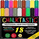 Colourful Art CHALK PENS & MARKERS - MEGA 18 Pack, BEST for Kids Art, Menu Bistro Board Cafe Boards - Glass & Window Erasable Pens - 6mm Fine or Chisel Tip - Neon Coloured Inc Gold & Silver