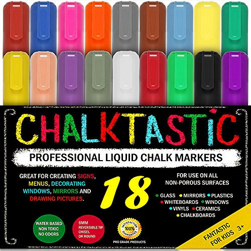 CHALK MARKERS & Pens - By Fantastic ChalkTastic MEGA 18 Pack BEST for Kids, Menu Board Bistro Boards - Glass & Window Erasable Marker Pen - Reversible 6mm Tip, Neon & Earth Colors, Gold & Silver -