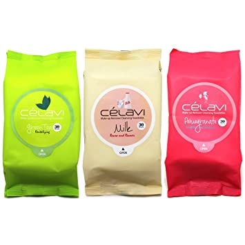 6f2856316171 Korean Cosmetic Celavi Makeup Remover Wipes Cleansing Towelettes 3 Packs-  90 Sheets (Green...