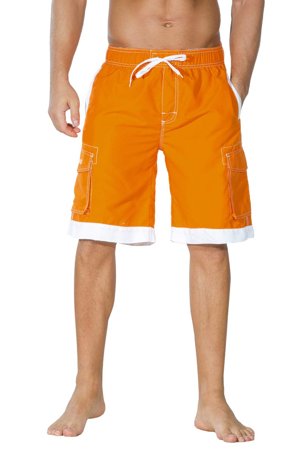 Unitop Men's Hawaiian Casual Fashional Cargo Beach Board Shorts Orange&White 34
