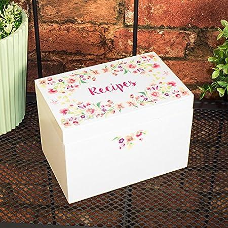 Crema Floral de madera caja de recetas con tarjetas y índices: Amazon.es: Hogar