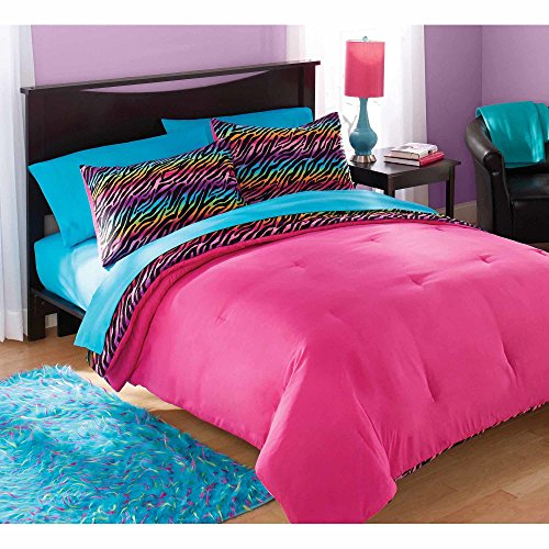 un 2 Piece Multi Color Girls Rainbow Zebra Stripes Comforter Set Twin, Pink Blue Purple Exotic Animal Print Themed Zoo Themed Bedding, Reversible Hot Pink Solid Color Kids Bedding, Polyester