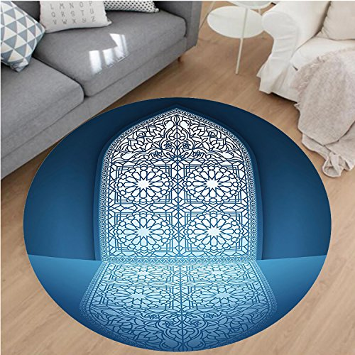 Nalahome Modern Flannel Microfiber Non-Slip Machine Washable Round Area Rug-ntique Old Mosque Grace Faith Theme Islamic Eid Ethnic Illustration Print White Turquoise area rugs Home Decor-Round 67'' by Nalahome
