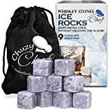 Whiskey Stones Ice Cube Rocks - Set of 9 Reusable Whisky Wine & Beverage Chilling Rocks With Velvet Gift Pouch for Indoor & Outdoor Bar & Party Accessories Best Gift Idea for Men - Chuzy Chef