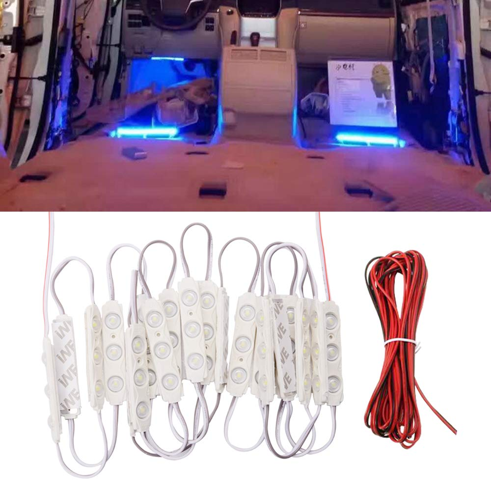 FICBOX 12V 60 LEDs Car Interior Light Kits LED Ceiling Lights Kit Waterproof Dome Lamp for Van Truck Caravan (20 Modules, White)