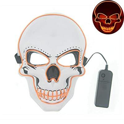 Tagital Halloween Mask LED Light Up Scary Skull Mask Costume Cosplay EL Wire Halloween Party (Orange): Clothing