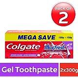Colgate MaxFresh Anticavity Toothpaste Gel, Spicy Fresh - 300gm (Pack of 2)
