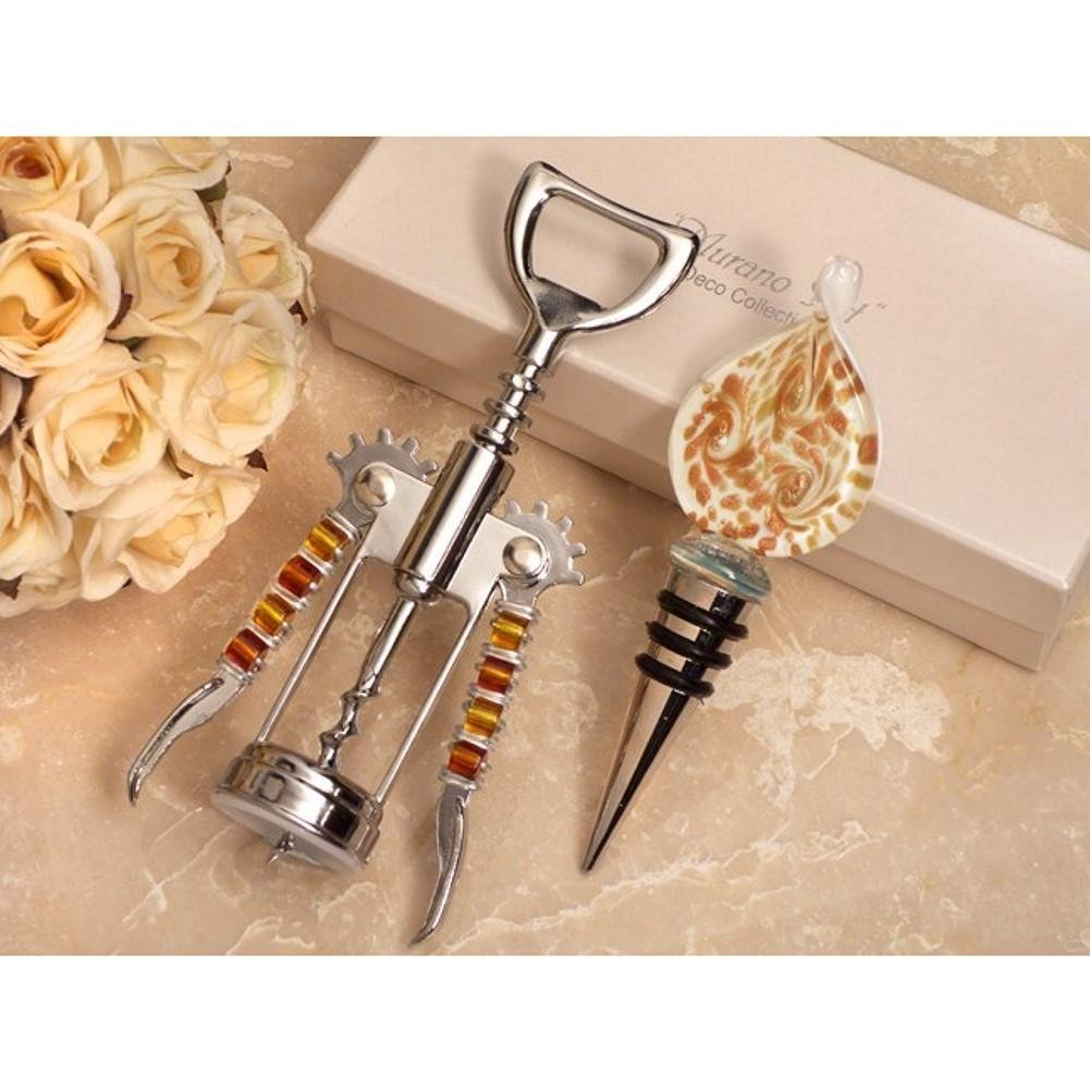 Stunning Murano Design Gold and White Bottle Stopper and Opener Set - 60 Sets
