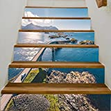"vanfan 3D Creative aerial drone shot of the amazing and world famous atlantic road in norway DIY Refurbished Stairs Stickers Removable Waterproof Stairs Mural(39.3""w x 7""h x 6PCS)"