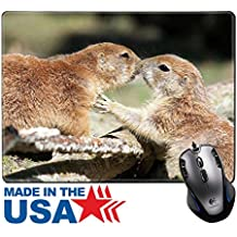 "MSD Natural Rubber Mouse Pad/Mat with Stitched Edges 9.8"" x 7.9"" Kissing Prairi dogs 36132860 Customized Desktop Laptop Gaming Mouse Pad"