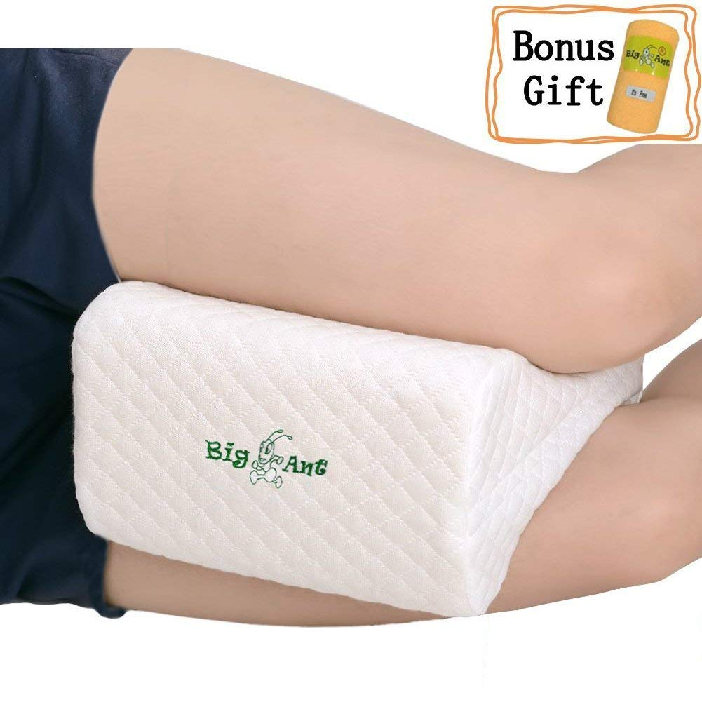 Big Ant Knee Pillow Orthopedic Leg Pillow Designed for Side Sleepers, Leg, Pregnancy, Back, Hip Pain Relief-Comfortable Memory Foam Knee Support Pillow with Breathable Washable Cover