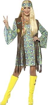NET TOYS Vestido Hippie Mujer - XL (ES 48/50) | Disfraz Años 60 ...