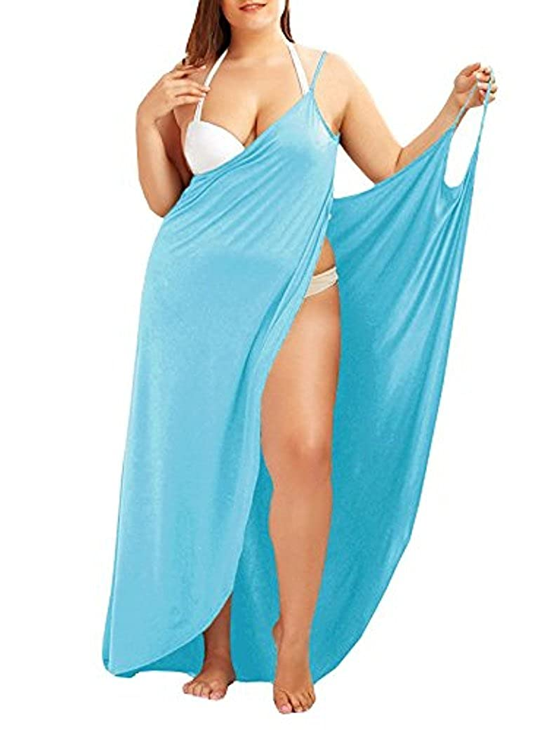 Fadalo Plus Size Spaghetti Strap Cover Up Beach Backless Wrap Long Dress