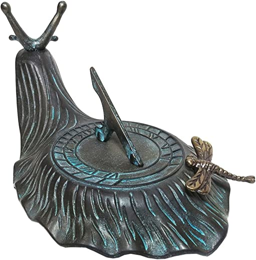 Decorative Brass Garden Outdoor Sundial – Snail with a Little Dragonfly