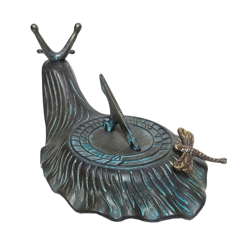 Decorative Brass Garden Outdoor Sundial - Snail with a Little Dragonfly