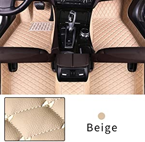 Car Floor Mat Custom Made For 95% of Car Models Full Coverage Interior Protection Waterproof Non-Slip Leather Mat Beige
