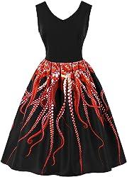f51a03d4e47 Killreal Women s V-Neck Sleeveless Vintage Cocktail Christmas Swing Dress  Black