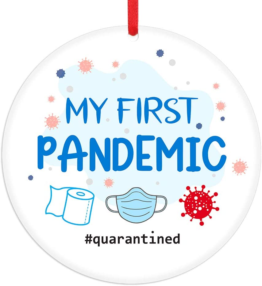 "FaCraft Pandemic Christmas Ornament 2020,3"" Quarantine Christmas Ornaments,Toilet Paper Ornaments for Christmas Tree Decoration"
