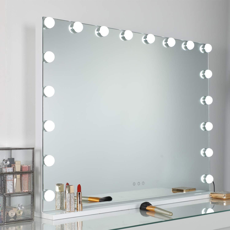 L80*H60CM WAYKING Spiegel mit Beleuchtung Gro/ßer Kosmetikspiegel mit 18 Lichter Make-up-Spiegel Hollywood Spiegel mit 3 Lichtfarben Touch Steuerung USB Ladeanschluss Wei/ß