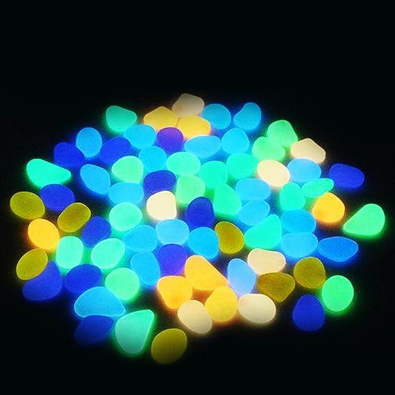 aimdonr 100 piezas brilla en la oscuridad pledger piedras de noche Glowing luminoso Acuario Piedra para estanques jardín Fish Tank, 100 PCS: Amazon.es: ...