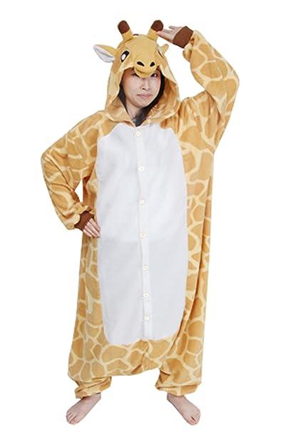 Bridal_Mall - Pijama de una pieza - Manga Larga - para hombre multicolor jirafa Large