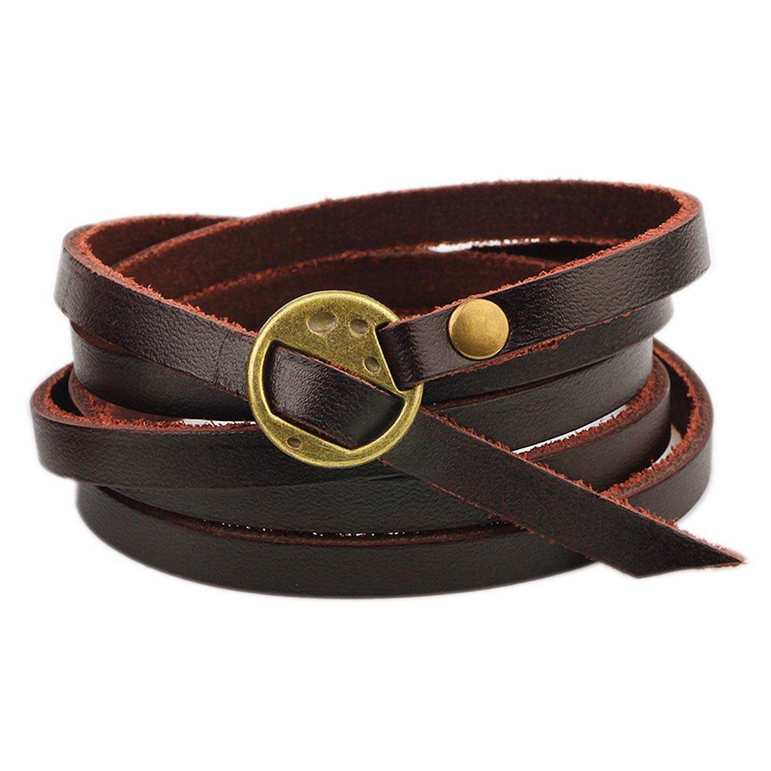 MJartoria Multilayer PU Leather Buckle Rope Wristband Clasp Wrap Bracelet (Bronze)