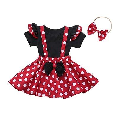 Sameno Summer Mom and Me Girls Love Heart Polka Dot Dress Cap Sleeve Family Matching Cartoon Theme Park Outfits Cute Red: Clothing