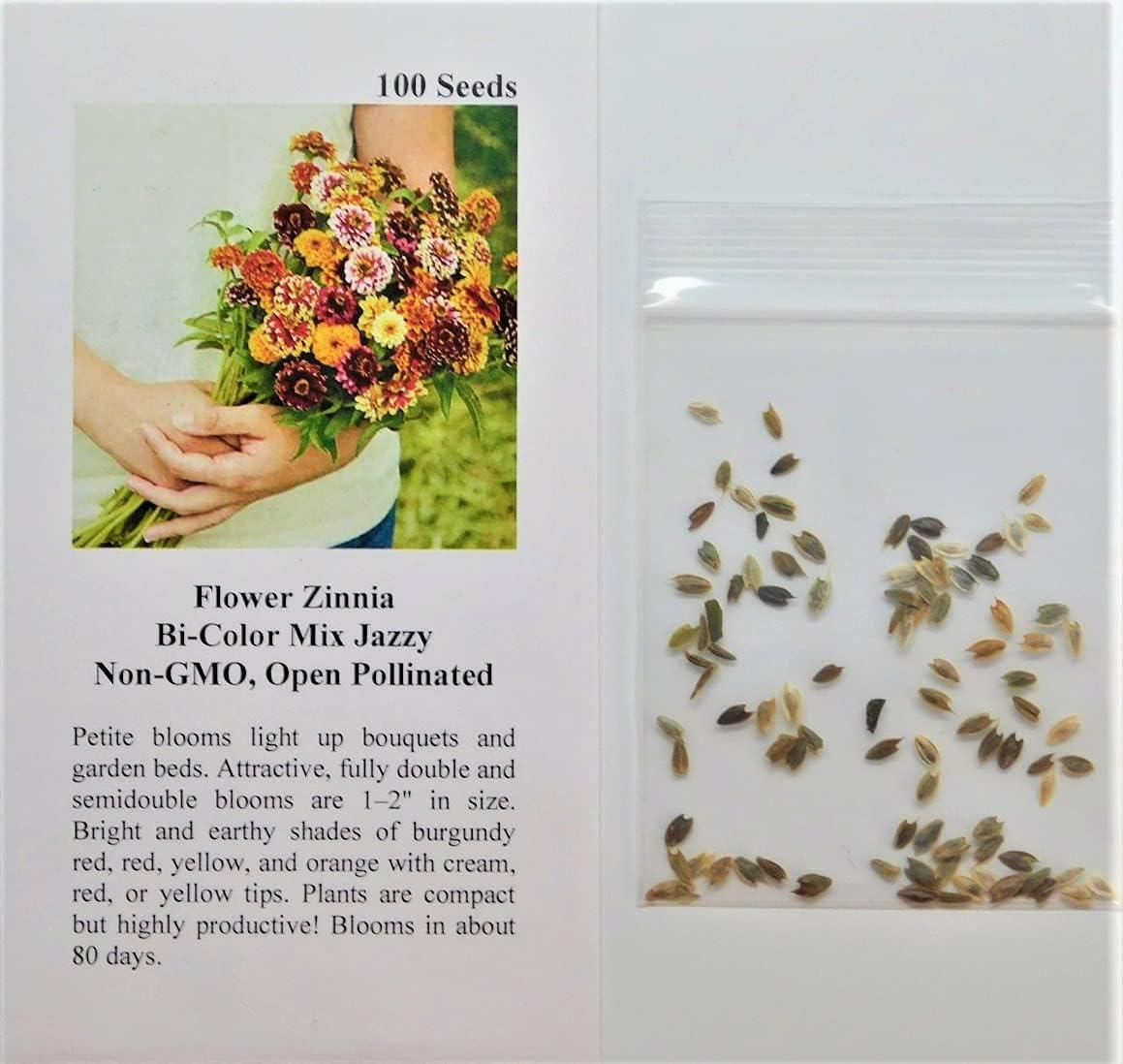 David's Garden Seeds Flower Zinnia Bi-Color Mix Jazzy 1131 (Multi) 100 Non-GMO, Open Pollinated Seeds