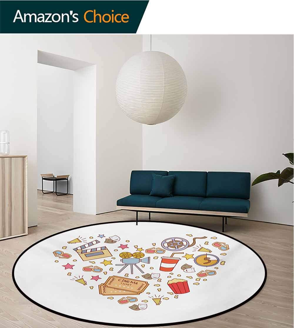 RUGSMAT Movie Theater Machine Washable Round Bath Mat,Cinema Attribute Love Retro Icons Collection in The Shape of A Heart Colorful Non-Slip No-Shedding Bedroom Soft Floor Mat,Round-63 Inch