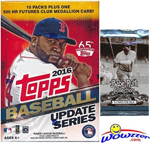 2016 Topps UPDATE MLB Baseball EXCLUSIVE Factory Sealed Retail Box with 10 Packs & 101 Cards PLUS Bonus BABE RUTH Collection Foil Pack! Box includes VERY SPECIAL MLB 500 HR Futures Club Medallion! ()