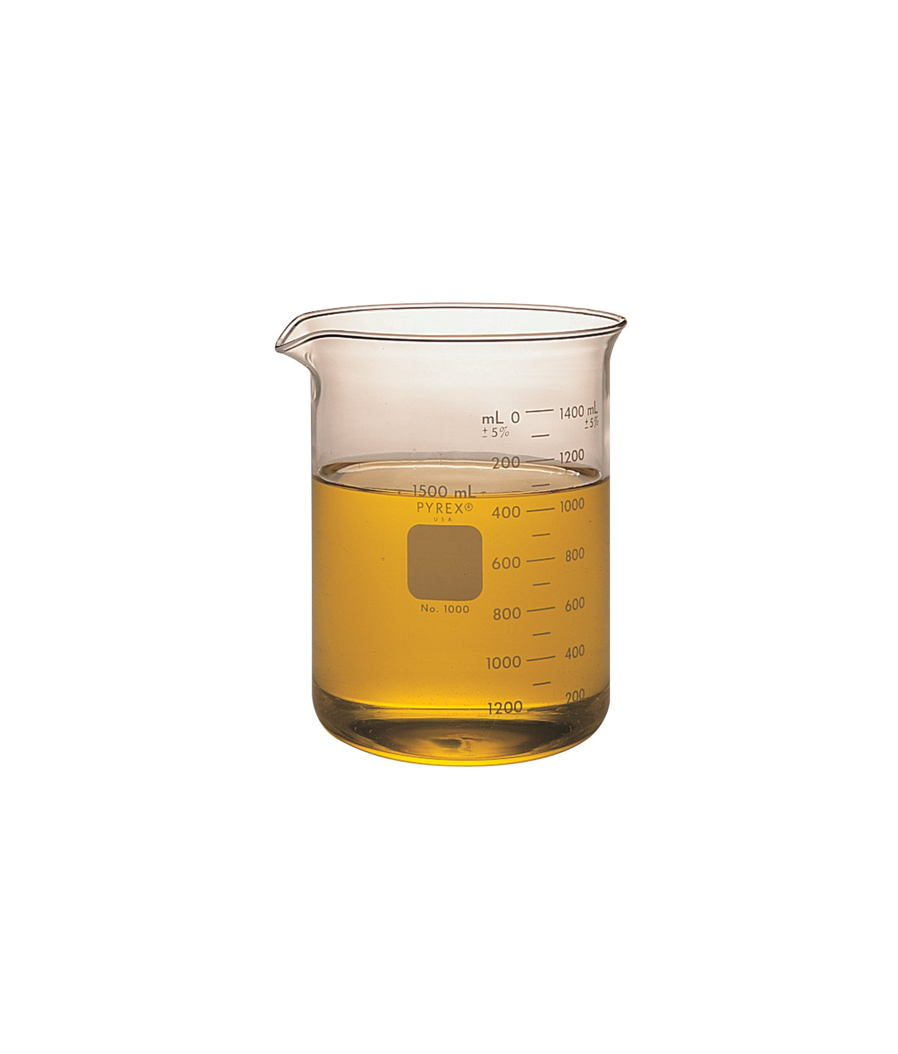 Corning Pyrex Borosilicate Glass Low Form Griffin Beaker, Graduated, 158mm H, 1000ml Capacity (Case of 24)