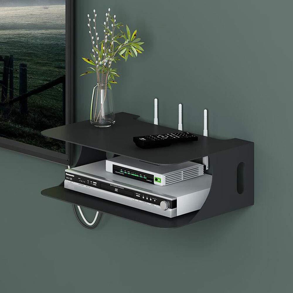 Fen Floating Regal Floating TV Set-top Box Aufbewahrungsbox WiFi Router Wohnzimmer Schlafzimmer Wand Set-top Box Lagerregal Farbe : SCHWARZ