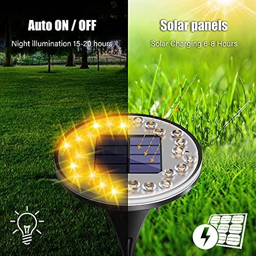 [4 Stück] Solar Bodenleuchten, 24LEDs Solarleuchten Bodenleuchte für Außen, 2 Modi IP68 Wasserdicht Warmweiß Solarleuchte Garten LED Wegleuchte Solarlampe Deko für Garten Rasen Auffahrt Gehweg