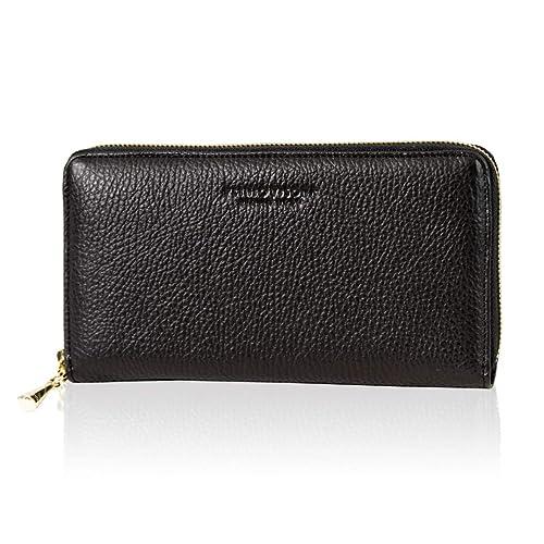2bcd5b5c827 Plinio Visona Italian Designer Black Leather Large Ziparound Clutch ...