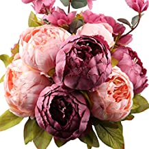 LeagelFake Flowers Vintage Artificial Peony Silk Flowers Bouquet Wedding Home Decoration, Pack of 1 (New Sweetened Bean)