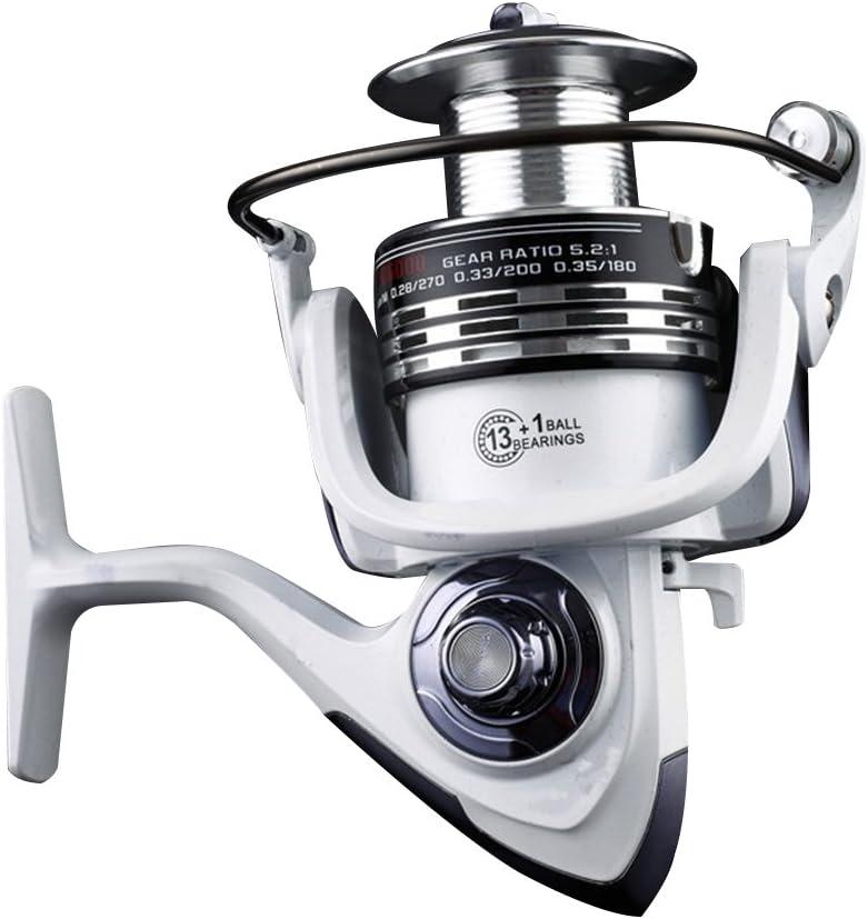 Rocker Arm Getriebe-Metall S/ü/ßwasser-Angelrolle Elegante Nahtlose Kugellager Hohe H/ärte glatt Salzwasser Wei/ß