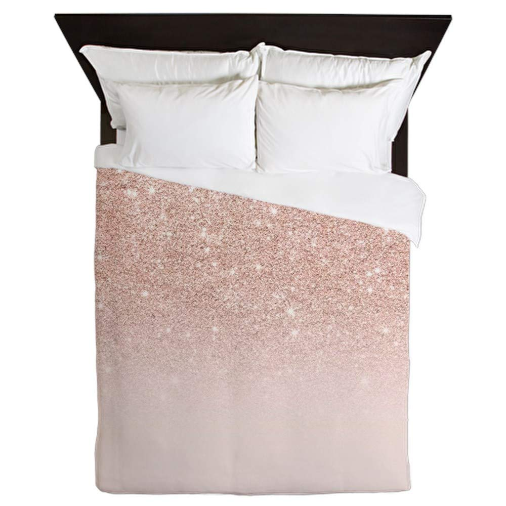 CafePress Modern Girly Rose Gold Glitter Ombre B Queen Duvet Cover, Printed Comforter Cover, Unique Bedding, Microfiber