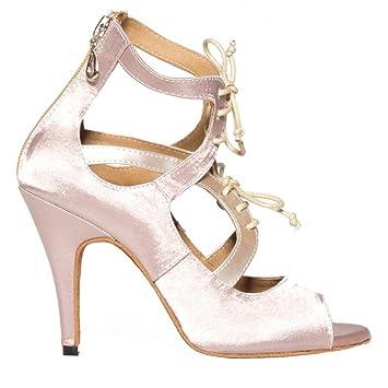 Byjia Dance Shoes Tanz High Heels Frau Sandalen Satin Leder Lateinisch Salsa Samba Tango Ballsaal Offener Zeh...