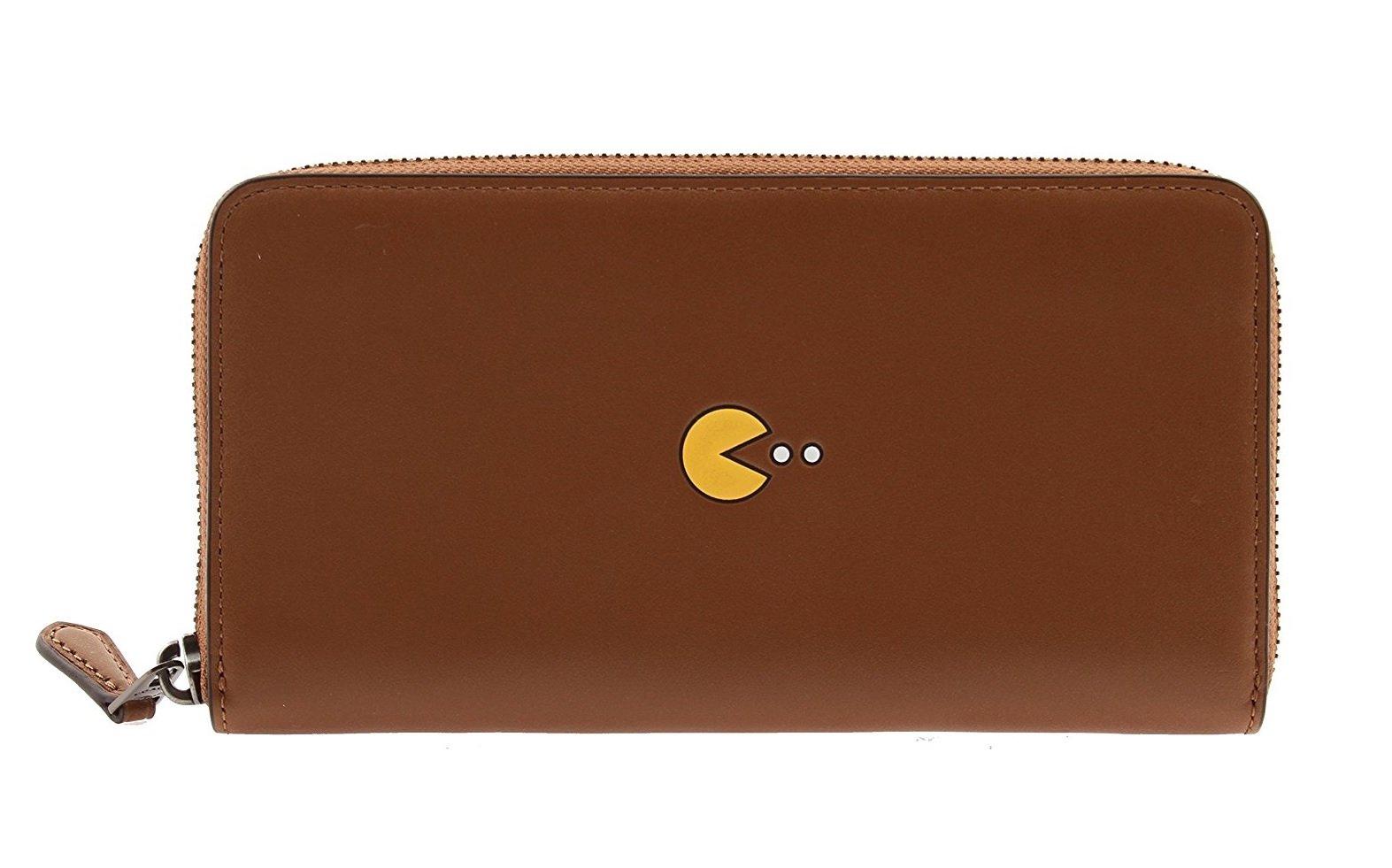 Coach PAC-MAN Calf Leather Accordion Wallet, F55736 (Saddle)
