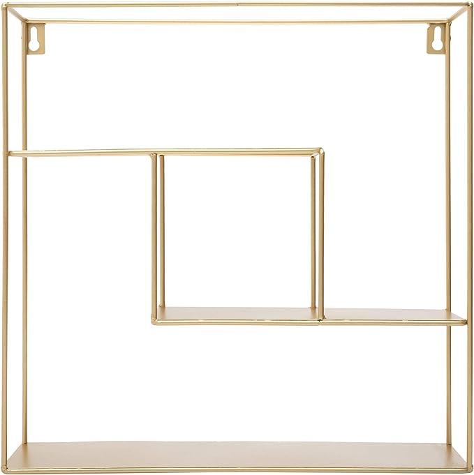 Kusso Estantería cuadrada de metal dorado con tres estantes para dormitorio, baño o oficina en casa, diseño geométrico de alambre