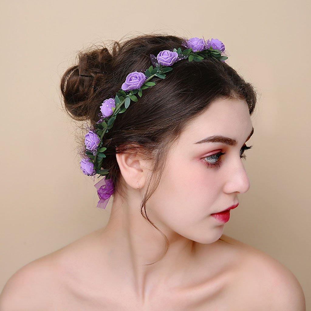 Wreath Flower, Headband Flower Garland Handmade Wedding Bride Party Ribbon Headband Wristband Hairband (Color : B) by Wreath