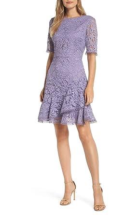 Womens Asymmetrical Ruffle Lace Flare Dress Short Evening