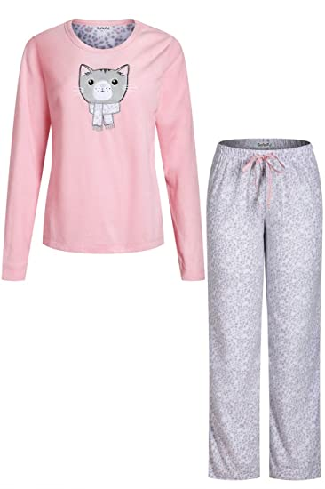 SofiePJ Women s Embroidery Fleece Pajama Sleepwear Set with Printed Long  Pants Light Pink Gray L eec194bbf