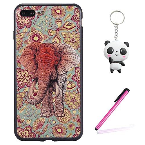 iPhone 8 Plus Hülle 3D Farbe Elefanten Premium Handy Tasche Schutz Schale Für Apple iPhone 8 Plus + Zwei Geschenk