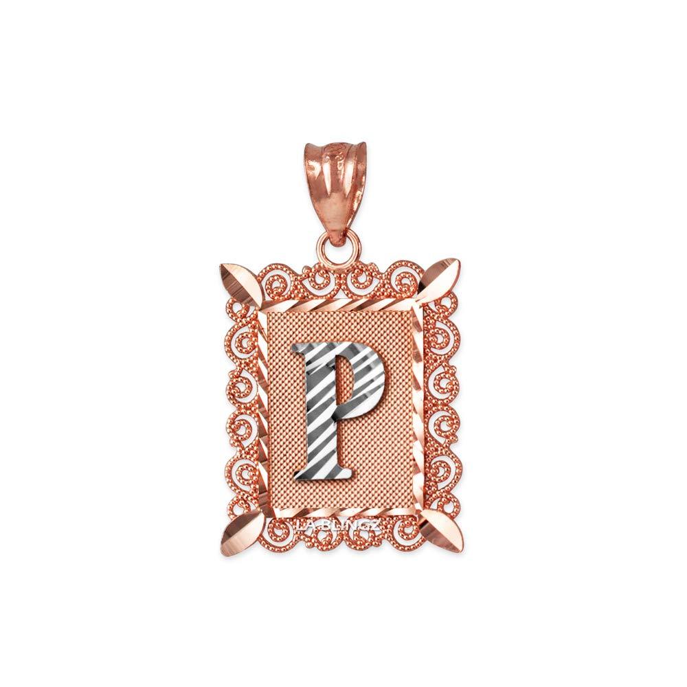 LA BLINGZ 10K Rose Gold Filigree Alphabet Initial Letter P DC Pendant Necklace