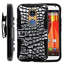 Moto X 2nd Gen Case, Moto X 2nd Gen Holster, Two Layer Hybrid Armor Hard Cover with Built in Kickstand for Motorola Moto X 2014 2nd Generation XT1092 XT1093 XT1094 XT1095 XT1096 XT1097 (AT&T, T Mobile, Verizon, US Cellular) from MINITURTLE | Includes Screen Protector - Smoke Gray Scales