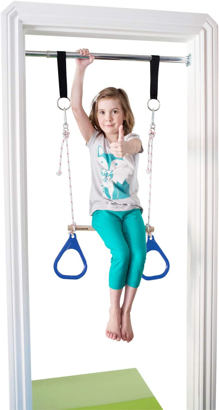 Kids Swing Seat Gymnastic Doorway Pull Up Bar Chin Up Ring Toys Outdoor Indoor