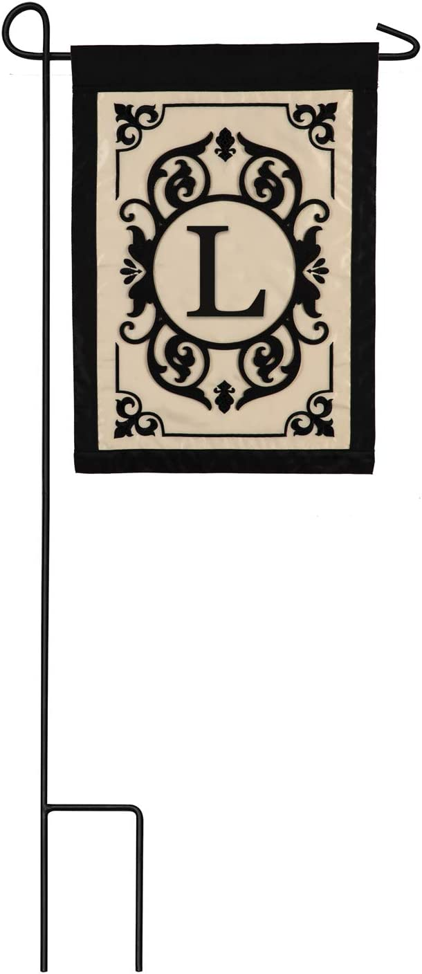 Cambridge Monogram Garden Applique Flag, Letter L - 13 x 1 x 18 Inches